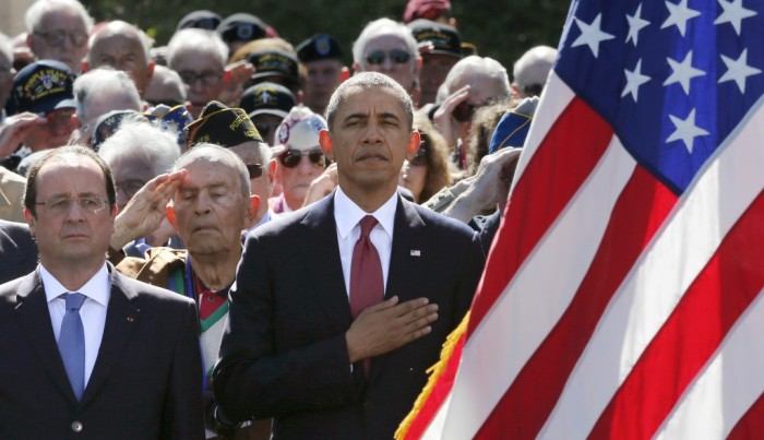 U.S. President Barack Obama and French President Francois Hollande participate in the 70th French-American commemoration D-Day ceremony at the Normandy American Cemetery and Memorial in Colleville-sur-Mer, France on Friday.The Associated Press